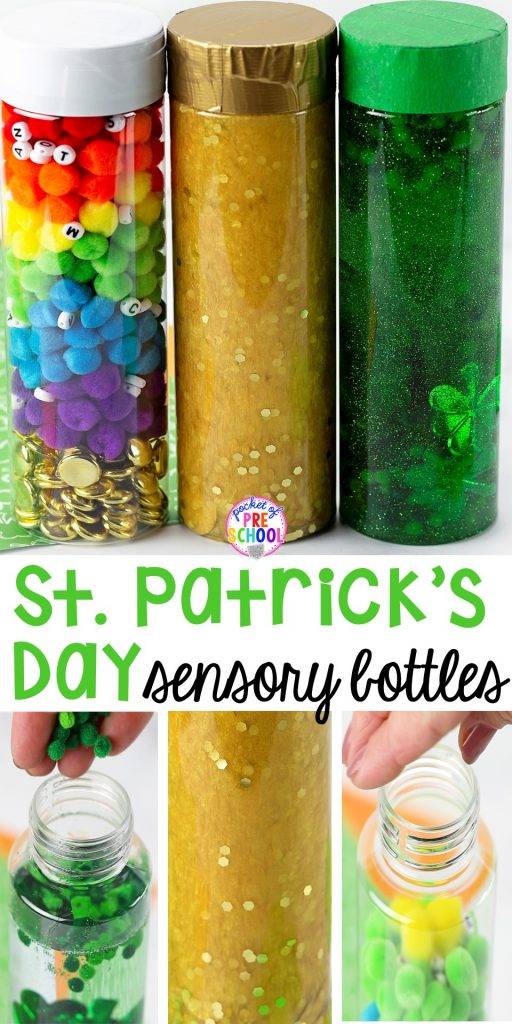 St. Patrick's Day sensory bottles (gold coins, clovers, and rainbow letters) to help students calm down, observe (science), and learn letters. #preschool #prek #toddler #sensorybottles