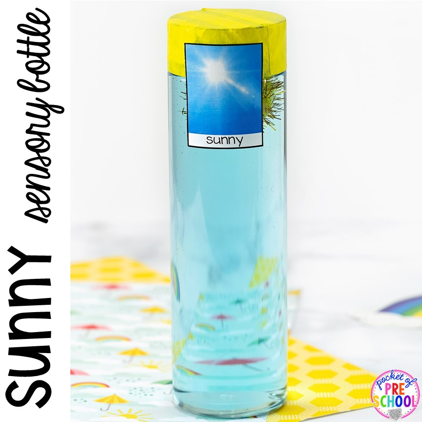 Sunny! Weather sensory bottles is af fun way to explore the weather inside and FREE weather photo labels. #weathertheme #preschool #prek #toddler #sensorybottles