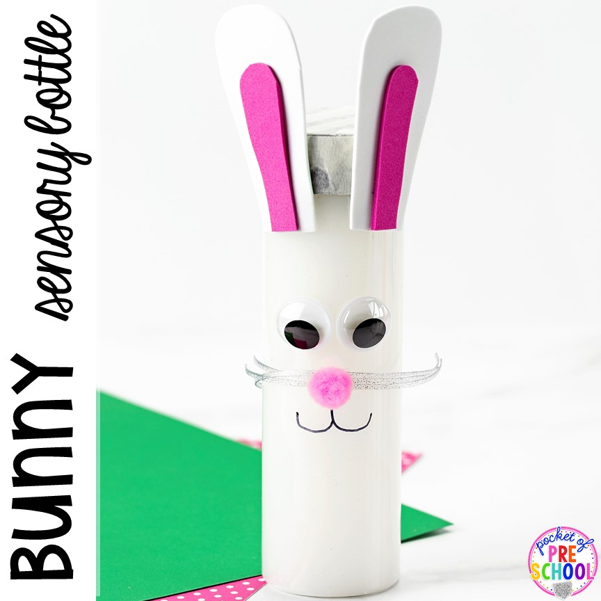 Bunny sensory bottle! PlusEaster sensory bottles for an Easter theme (bunny, carrot, and egg hunt)! #preschool #toddler #prek #sensorybottles #eastertheme