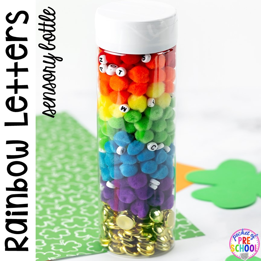 Rainbow letter sensory bottle! St. Patrick's Day sensory bottles (gold coins, clovers, and rainbow letters) to help students calm down, observe (science), and learn letters. #preschool #prek #toddler #sensorybottles