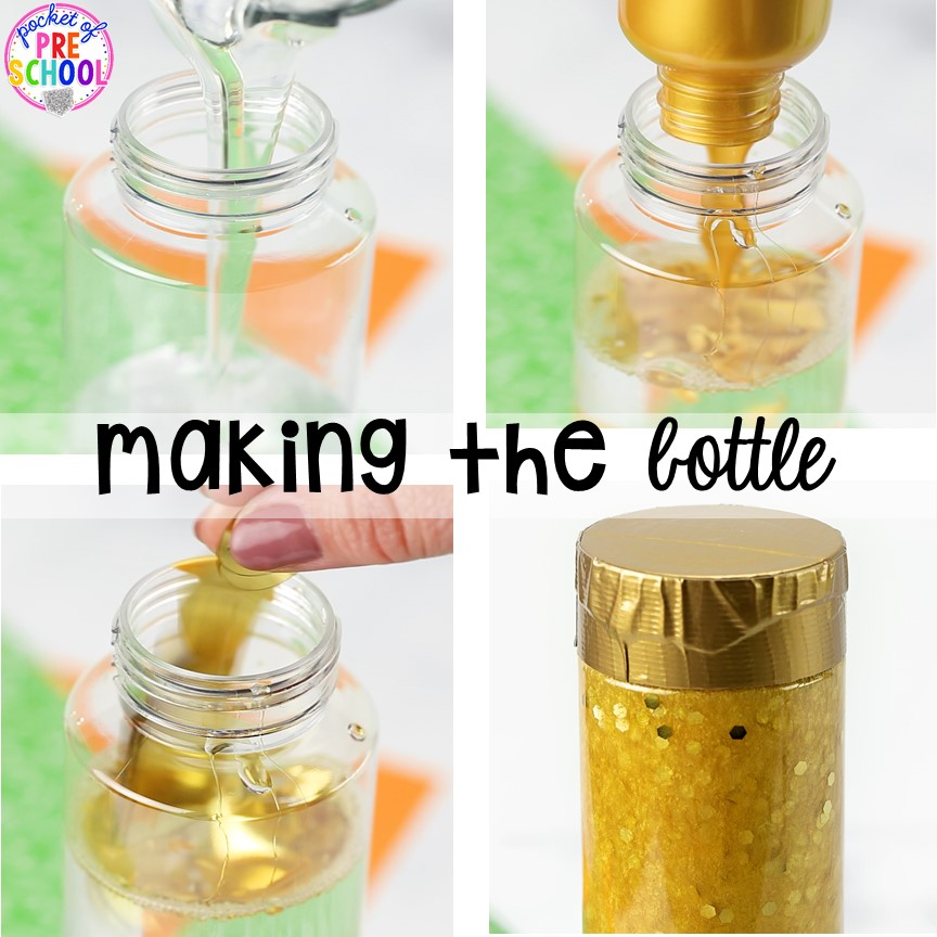 Making a gold coin sensory bottle! St. Patrick's Day sensory bottles (gold coins, clovers, and rainbow letters) to help students calm down, observe (science), and learn letters. #preschool #prek #toddler #sensorybottles