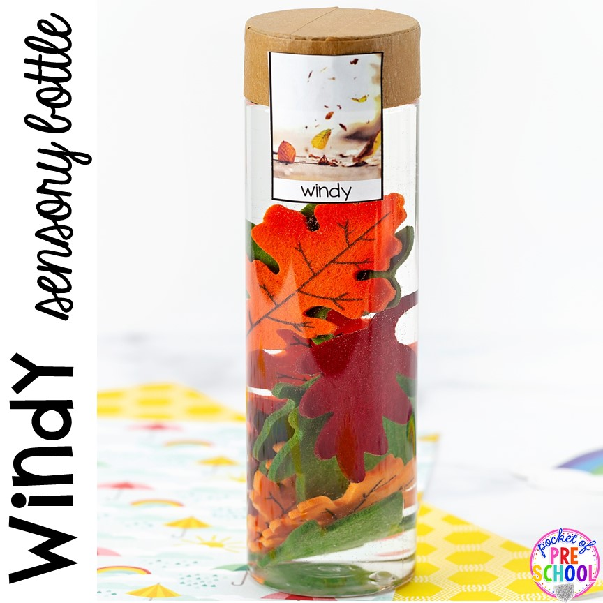 Windy! Weather sensory bottles is af fun way to explore the weather inside and FREE weather photo labels. #weathertheme #preschool #prek #toddler #sensorybottles