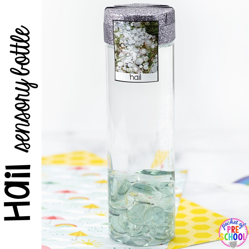 Hail! Weather sensory bottles is af fun way to explore the weather inside and FREE weather photo labels. #weathertheme #preschool #prek #toddler #sensorybottles