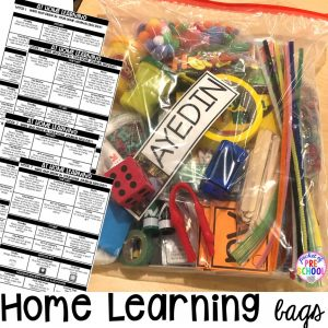How to make Take home learning bags to keep students learning through PLAY at home. Made for preschool, pre-k, and kindergarten. #preschool #prek