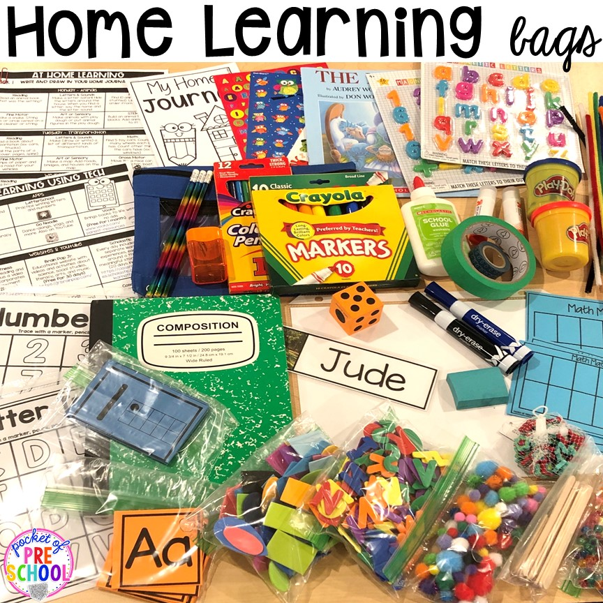 Take home learning bags to keep students learning through PLAY at home. Made for preschool, pre-k, and kindergarten. #preschool #prek