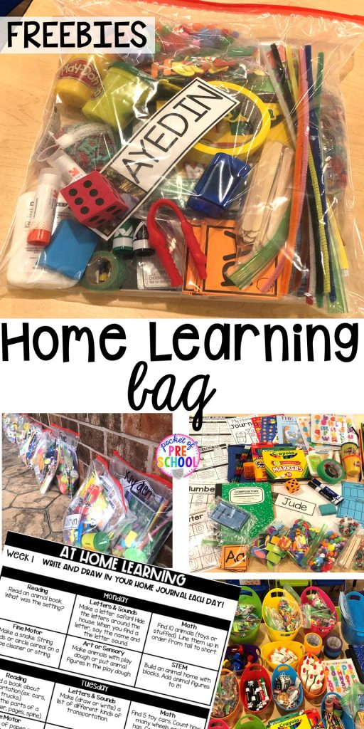 FREElearning boards and how to make Take home learning bags to keep students learning through PLAY at home. Made for preschool, pre-k, and kindergarten.