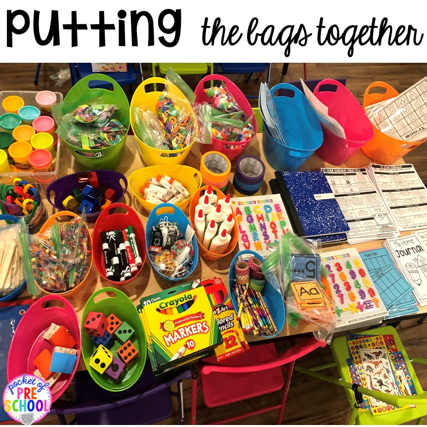 Tips to make How to make Take home learning bags to keep students learning through PLAY at home. Made for preschool, pre-k, and kindergarten. #preschool #prek