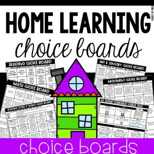 Home Learning Choice Boards for Preschool, Pre-K, and Kindergarten - perfect for distant learning or summer months.