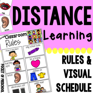 Distance learning visual supports and rules for your virtual classroom! Use these visuals to help with classroom management as you teach and as we are all teaching digitally. Designed for toddler, preschool, pre-k, tk, kindergarten, and first.