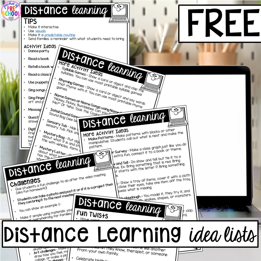 FREE printable list of activties you can do for distance learning or on video conferences with preschool, pre-k, and kindergarten.
