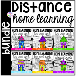 Distance Home Learning packs with mini choice board for each day, sensory recipies, literacy printables, math printables, and More!