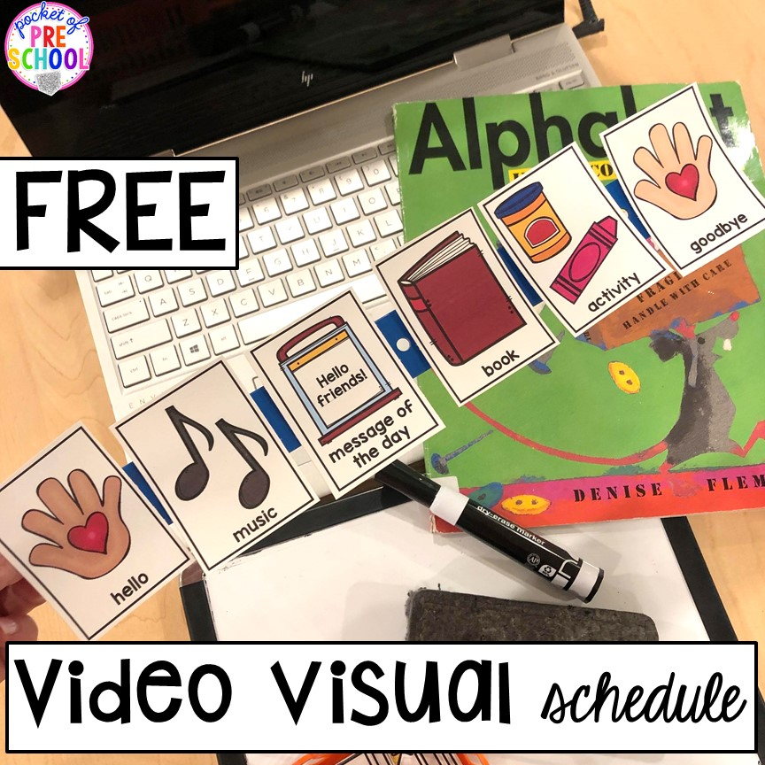 Mini visual schedule distnace learning made with a ruler. Perfect for peschool, pre-k, and kindergaten.