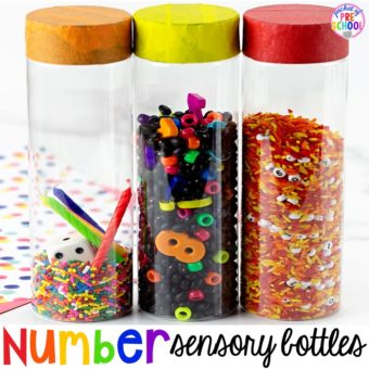 How to make number sesnory bottles and FREE Number Hunts! Fun number recognition game for preschool, pre-k and kindergarten.