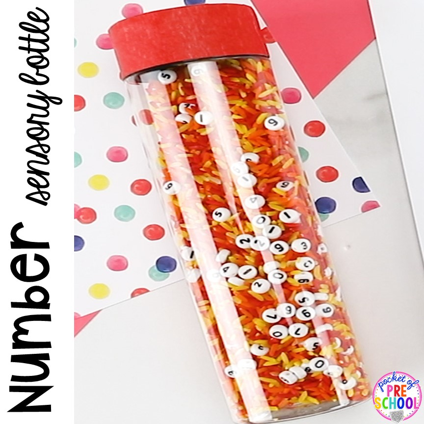 Number sesnory bottles with number beads and FREE Number Hunts! Fun number recognition game for preschool, pre-k and kindergarten.