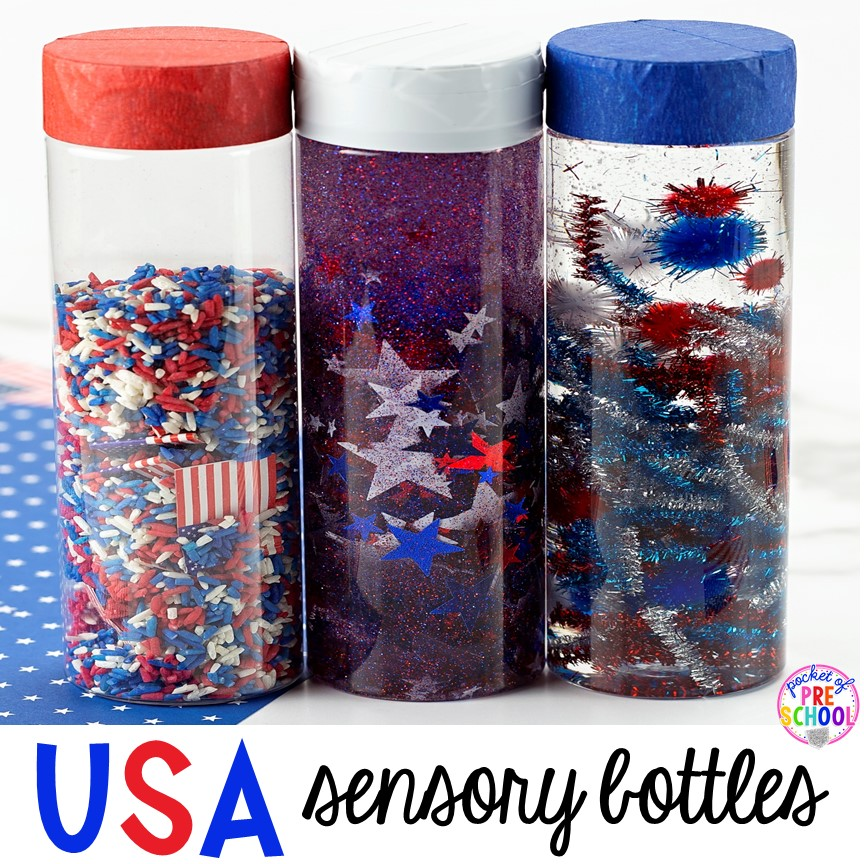 USA patriotic sensory bottles perfect for the 4th of July, President's Day, election time, or an American Symbols unit with yoru preschool, pre-k, or toddler class.