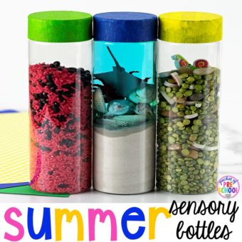 How to make Summer sensory bottles! Put in the science center, calm down spot, or safe place for students to explore. My preschool and todders LOVE them!