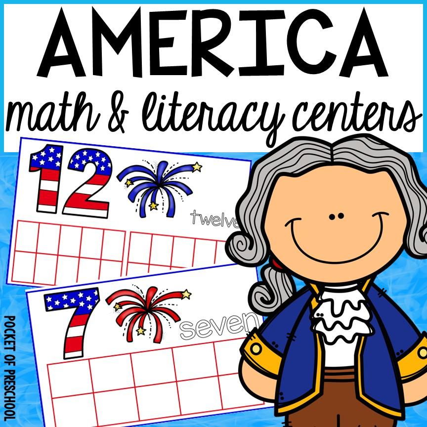 USA math and literacy centers for preschool, pre-k, and kindergarten.