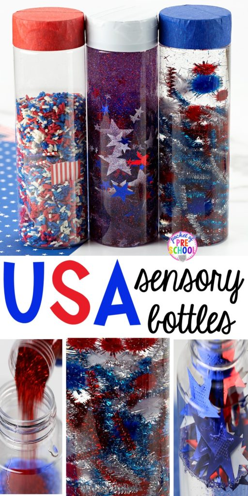 How to make patriotic USA sensorys bottle perfect for the 4th of July, President's Day, election time, or an American Symbols unit with yoru preschool, pre-k, or toddler class.