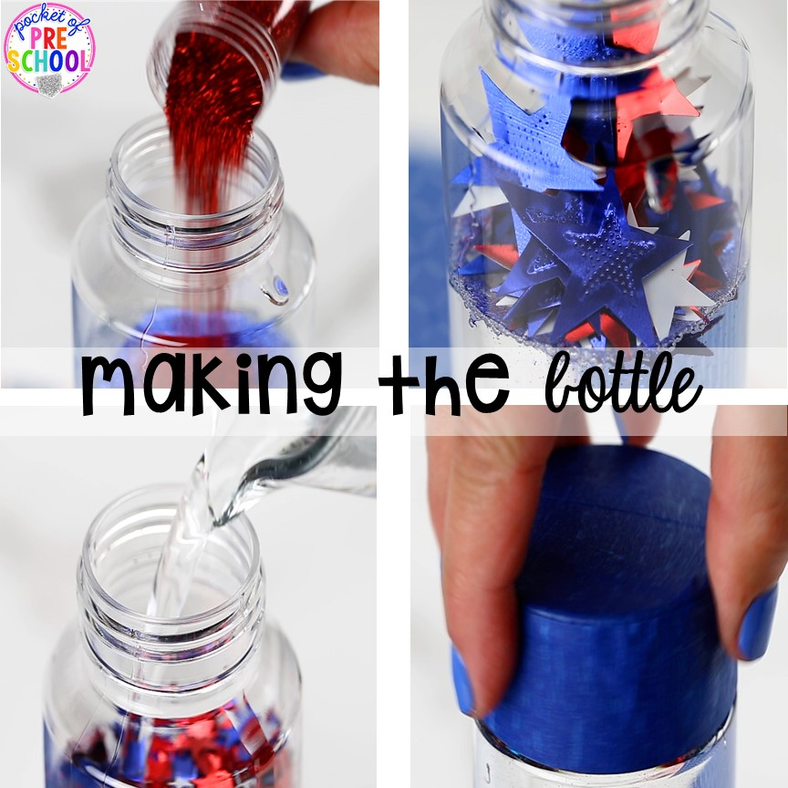How to make a patriotic sensory bottle perfect for the 4th of July, President's Day, election time, or an American Symbols unit with yoru preschool, pre-k, or toddler class.