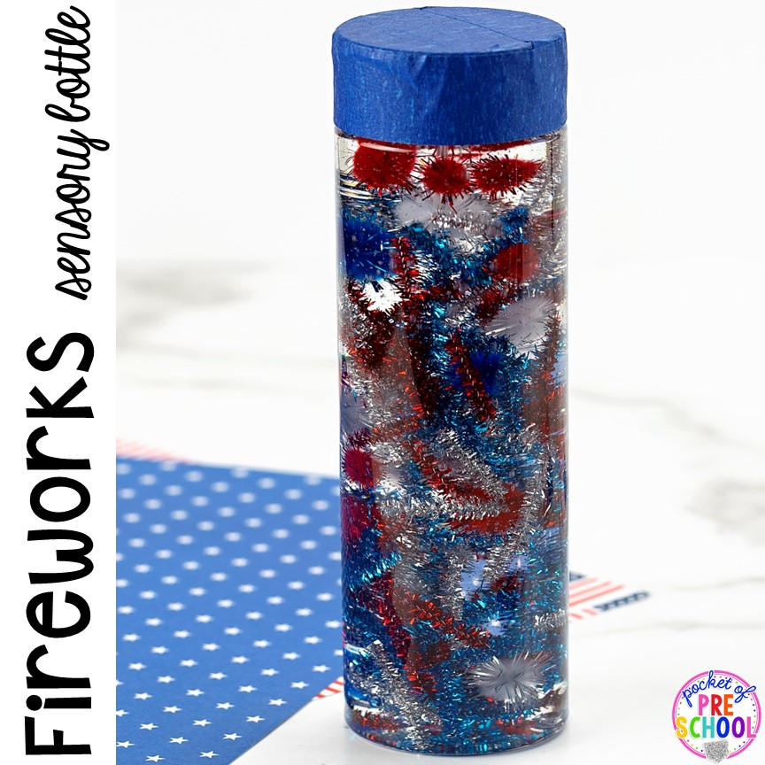 How to make a firework sensory bottle perfect for the 4th of July, President's Day, election time, or an American Symbols unit with yoru preschool, pre-k, or toddler class.