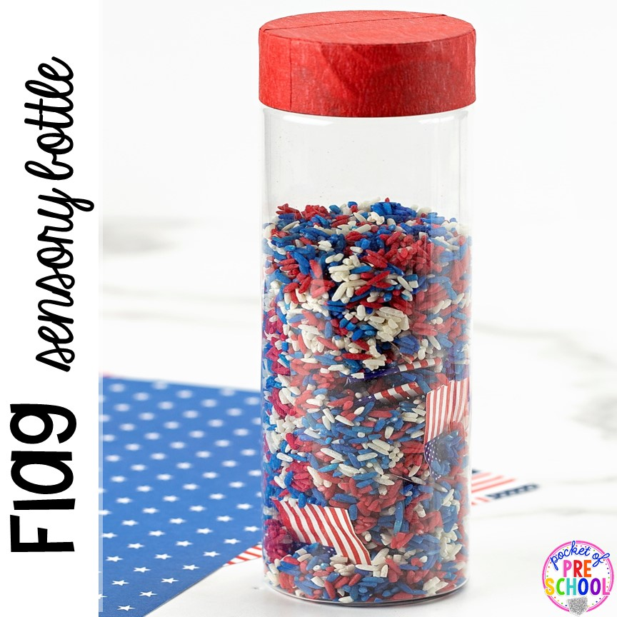 How to make a flag sensory bottle perfect for the 4th of July, President's Day, election time, or an American Symbols unit with yoru preschool, pre-k, or toddler class.