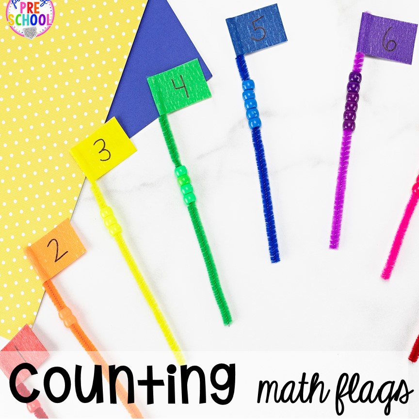 Counting Pipe Cleaner Math - counting, making patterns, or adding! Low prep and fine motor fun for preschool, pre-k, and kindergarten.