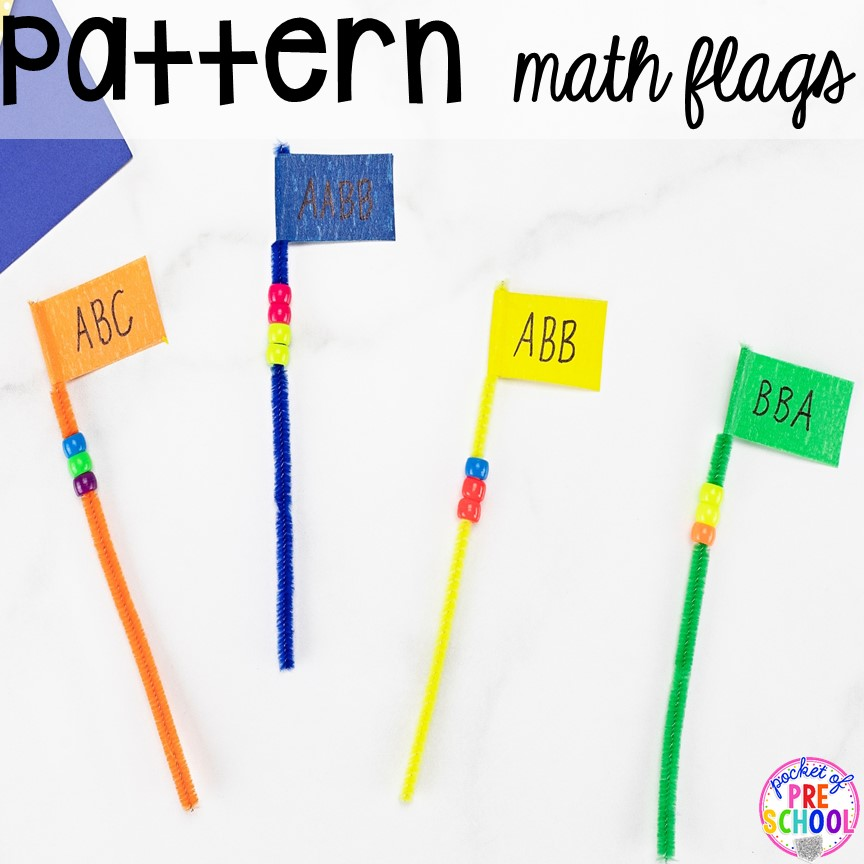 Pattern Pipe Cleaner Math - counting, making patterns, or adding! Low prep and fine motor fun for preschool, pre-k, and kindergarten.