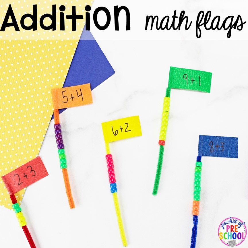 Addition Pipe Cleaner Math - counting, making patterns, or adding! Low prep and fine motor fun for preschool, pre-k, and kindergarten.