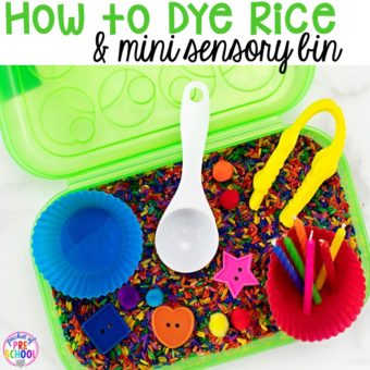 How to dye rice for sesnory plan and make mini sensory bins with pencil boxes. Just right fo rp reschool, pre-k, and kindergarten!