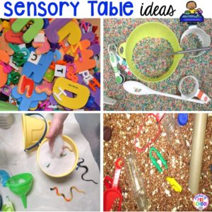Sensory table fillers and tools to use in your preschool or prek classroom plus a giant printble list!
