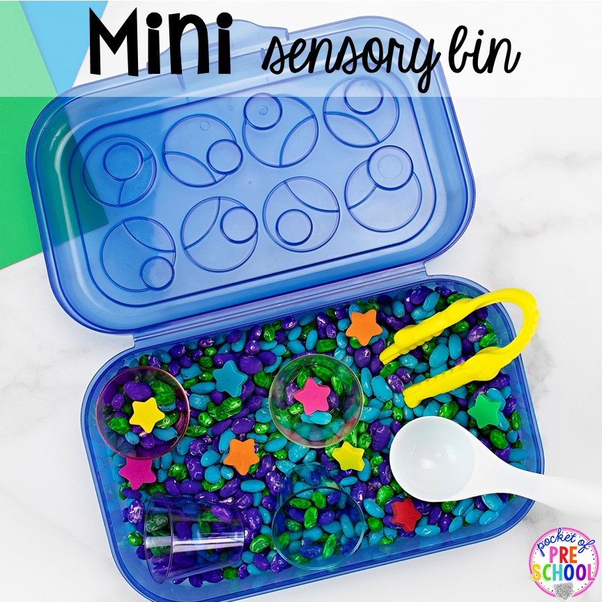 How to make mini sensory bins with pencil boxes (perfect for new COVID guidelines). Just right fo rpreschool, pre-k, and kindergarten!