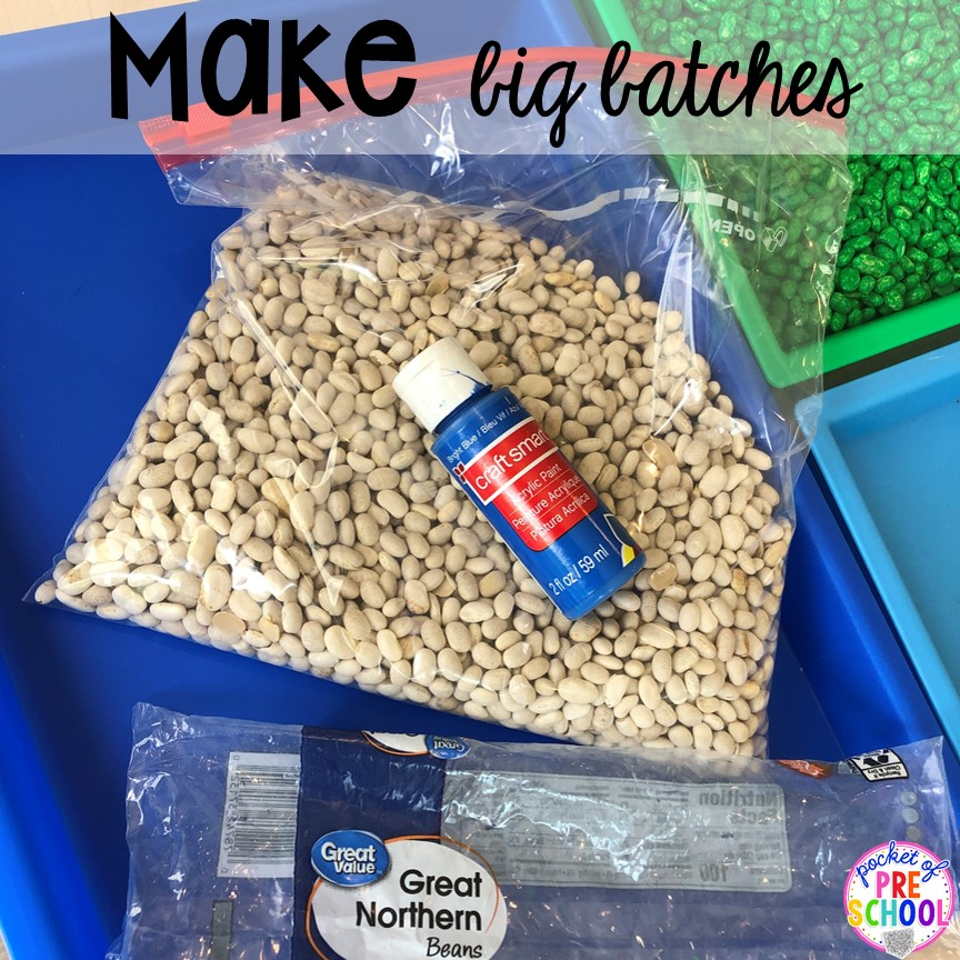 How to dye beans for sesnory plan and make mini sensory bins with pencil boxes. Just right fo rpreschool, pre-k, and kindergarten!