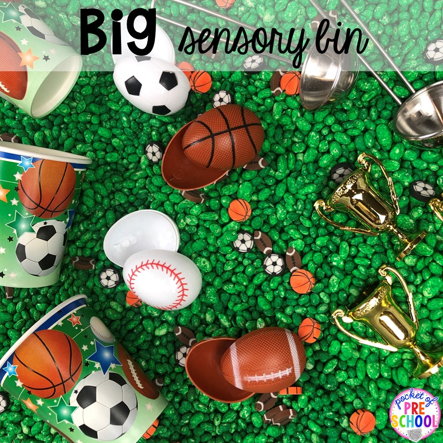 Sport theme sensory bin! How to dye beans for sesnory play and sensory bins. Just right fo preschool, pre-k, and kindergarten!