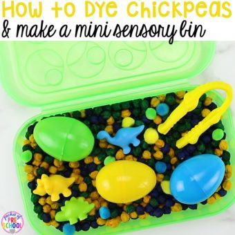 How to dye chickpeas (aka garbanzo beans) and create a mini color mathicng sensory bin using a pencil box. Created for preschool, pre-k, and kindergarten.)