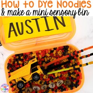 How to dye noodles for sensory play and ideas to make a mini name sensory bin! Perfect for preschool, pre-k, and kindergarten.