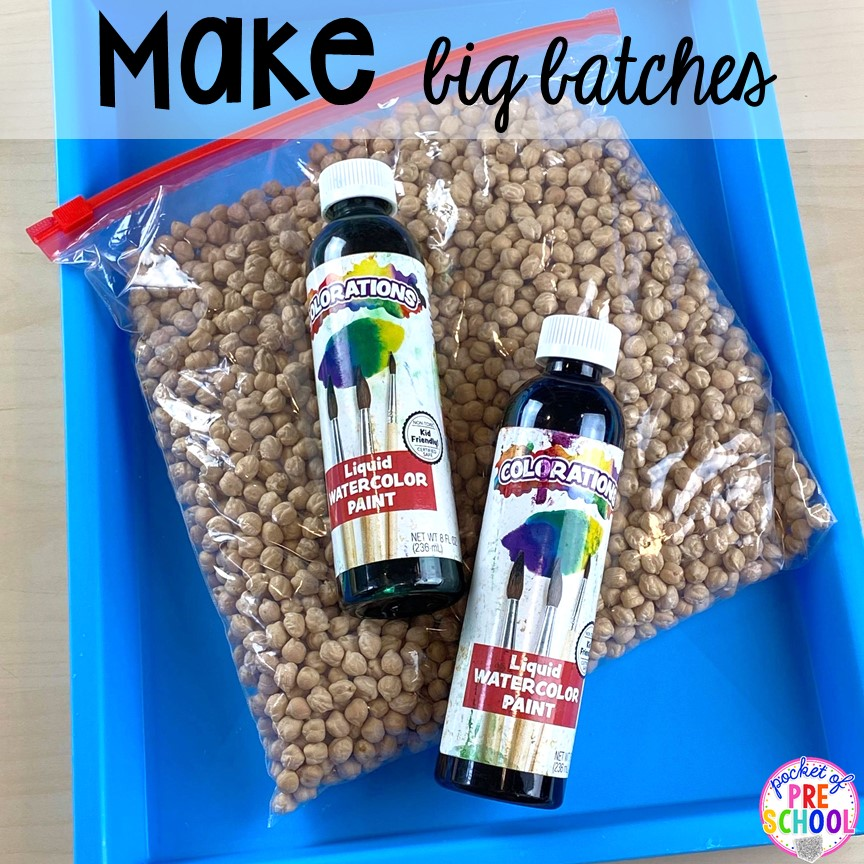How to dye chickpeas (aka garbanzo beans) with liquid watercolor and create a mini color mathicng sensory bin using a pencil box. Created for preschool, pre-k, and kindergarten.)