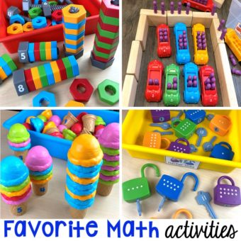 Favorite hands-on math activities and store bought games for preschool and pre-k.