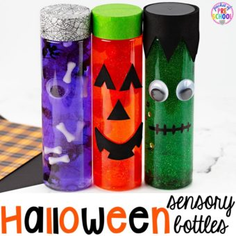 How to make Halloween sensory bottles! Fun for the science or calm down center. in a preschool, pre-k, or toddler classroom.