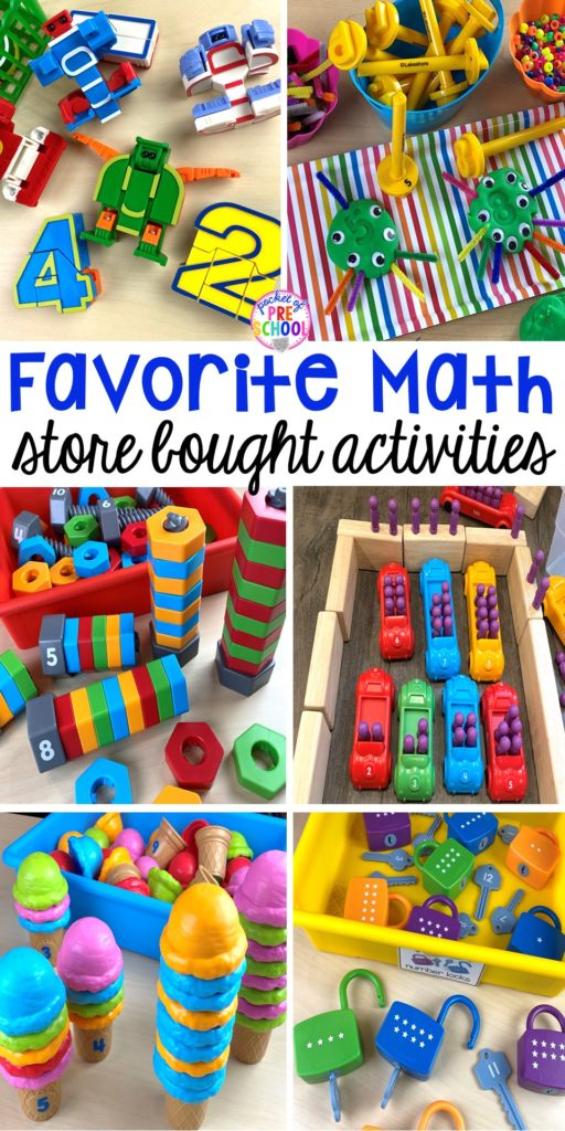 Favorite hands-on math activities and store bought games for preschool and pre-k. Plus a Lakeshore coupon code!