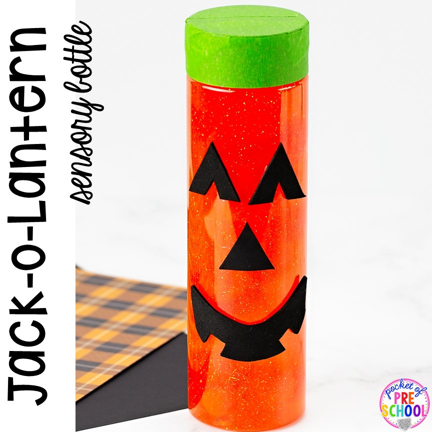 How to make Jack-O-Lantern Halloween sensory bottles! Fun for the science or calm down center. in a preschool, pre-k, or toddler classroom.