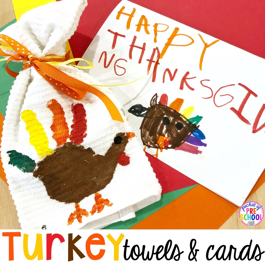 Tips to make turkey handprint towels for Thanksgiving parent gifts and kid made Thanksgiving cards for the holidays. Perfect for perschool, pre-k, and kindergarten.