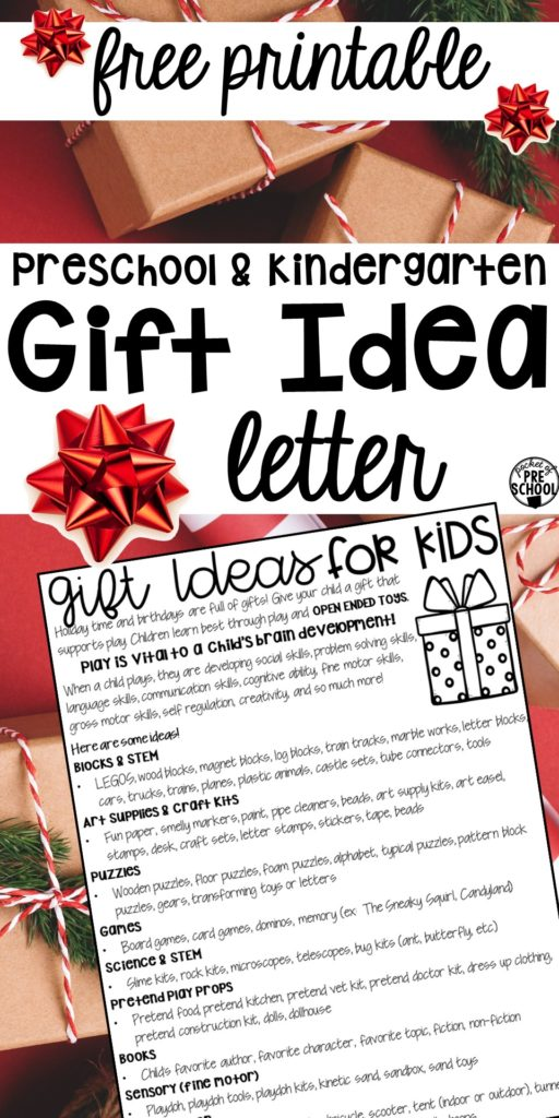 FREE Gift idea list to send home to preschool, pre-k, and kindergarten families for the holidays or at back to school for birthday ideas. #preschool #prek #parentletter #freeprintable