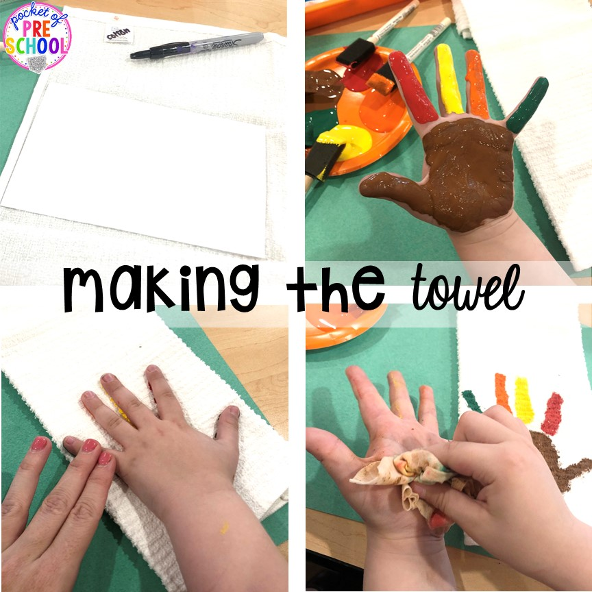How to make turkey handprint towels for Thanksgiving parent gifts and kid made Thanksgiving cards for the holidays. Perfect for perschool, pre-k, and kindergarten.