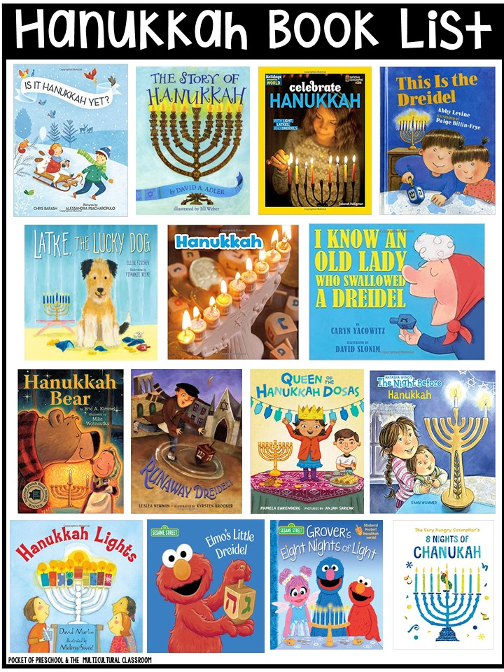 Hanukkah book list for preschool, pre-k, and kindergarten - circle time and read alouds
