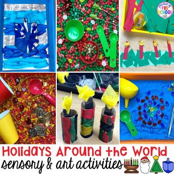 Holidays Around the World art and sensory activities for preschool, pre-k, and kindergarten.