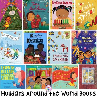 Holidays Around the World book list for preschool, pre-k, and kindergarten - circle time and read aloud books for Kwanzaa, Hanukkah, Lunar New Year, Las Posadas, Saitn Lucia, and Diwali.