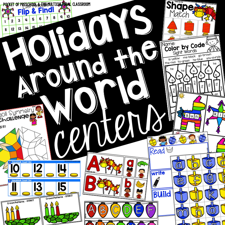 Holidays Around the World Centers (math, literacy, and STEM) for preschool, pre-k, and kindergarten.