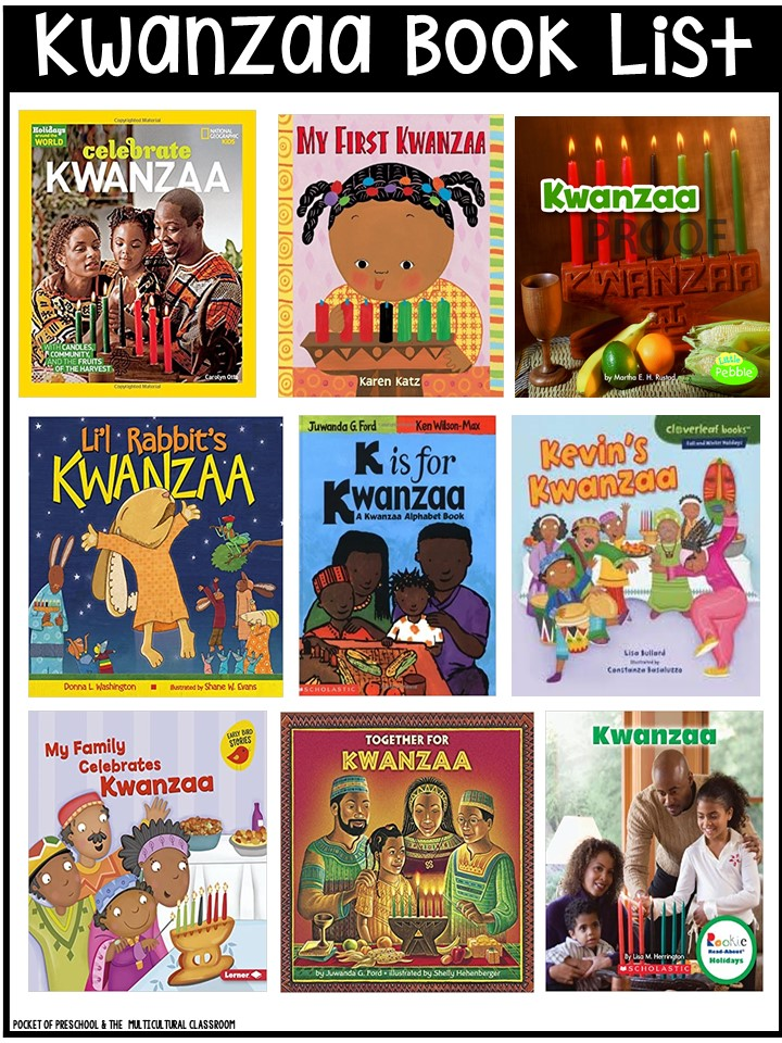 Kwanzaa book list for preschool, pre-k, and kindergarten - circle time and read aloud books!