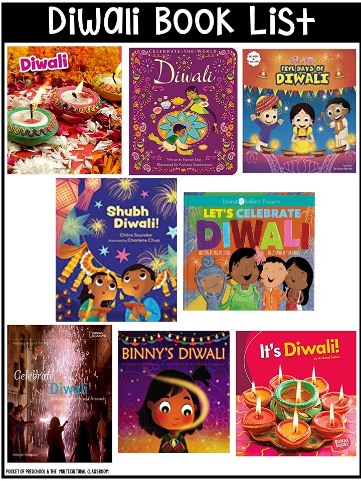 Diwali book list for preschool, pre-k, and kindergarten - circle time and read aloud books