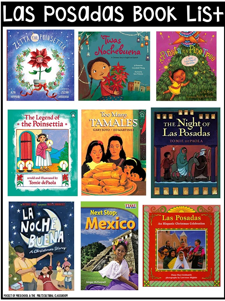 Las Posadas book list for preschool, pre-k, and kindergarten - circle time and read aloud books